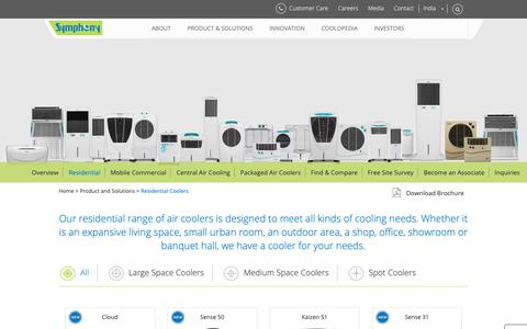 Screenshot of Products Page symphonylimited.com - Residential Air Coolers, Showroom Air Coolers - Symphony Limited - captured Nov. 10, 2018
