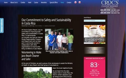 Screenshot of Blog crocscasinoresort.com - Croc's Hotel & Casino Blog | Hotel in Jaco, Costa Rica - captured Dec. 13, 2015