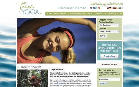 Screenshot of Home Page travelyoga.com.au - Best Luxury Yoga Retreats in Bali, India Ashram, Thailand & Asia - captured Feb. 25, 2016