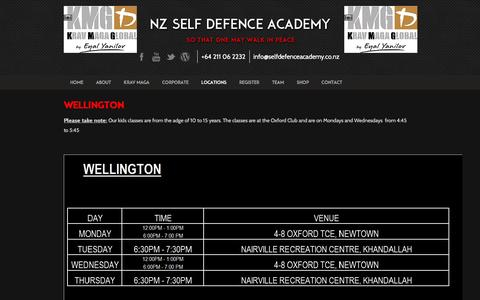 Screenshot of Locations Page selfdefenceacademy.co.nz - Wellington - Self Defence Academy - captured Dec. 2, 2016