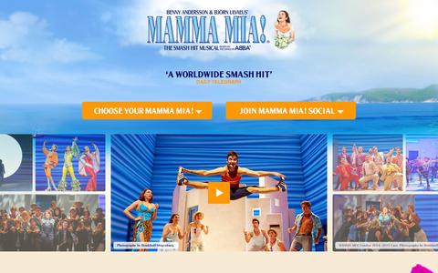 Screenshot of Home Page mamma-mia.com - MAMMA MIA! The Global Smash Hit - - captured Jan. 28, 2015