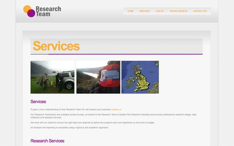 Screenshot of Services Page researchteam.eu - Services - captured Oct. 26, 2014