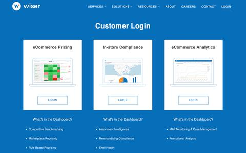 Screenshot of Login Page wiser.com - Dashboard Login | Wiser Solutions, Inc. - captured May 18, 2019