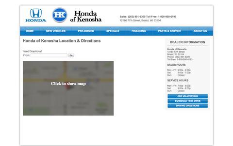 Screenshot of Hours Page hondaofkenosha.com - Hours and Location Honda of Kenosha-Kenosha, WI Honda - captured Sept. 30, 2014