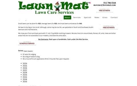 Screenshot of About Page lawnmat.com - Lawn-Mat Lawn Care Services - About Austin Lawn Care Service | Lawn-Mat Lawn Care Services - captured Oct. 2, 2014