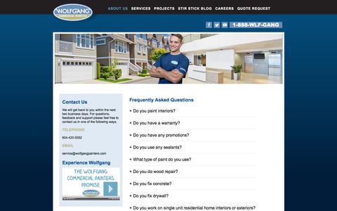 Screenshot of FAQ Page wolfgangpainters.com - FAQ | Wolfgang Commercial Painters - captured Oct. 26, 2017