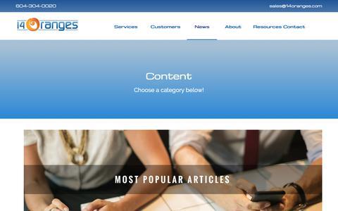 Screenshot of Blog 14oranges.com - Mobile App Blogs | Resources, Guides, and Tips | 14 Oranges - captured Oct. 5, 2018
