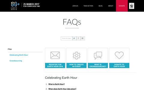 Screenshot of FAQ Page earthhour.org -   EARTH HOUR - captured Sept. 7, 2016