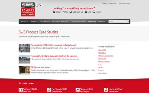 Screenshot of Case Studies Page sws.co.uk - SWS Product Case Studies and information | SWS UK - captured Nov. 18, 2016