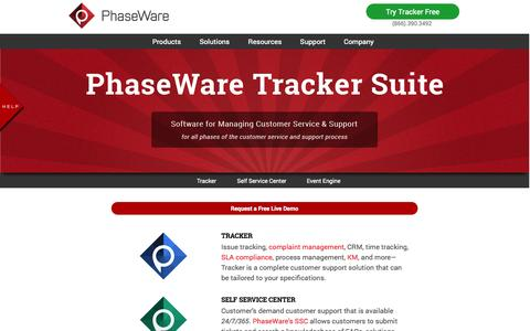 Screenshot of Products Page phaseware.com - Customer Service Management Products - captured Oct. 2, 2014