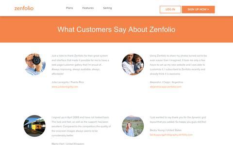 Screenshot of Testimonials Page zenfolio.com - Zenfolio - Testimonials - captured Jan. 19, 2017