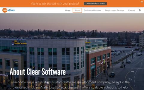Screenshot of About Page clearsoftware.ca - About Clear Software | Full-Stack Development Company in Waterloo - captured Sept. 28, 2018