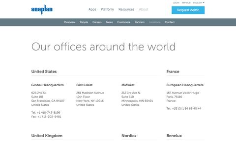 Screenshot of Locations Page anaplan.com - Anaplan Worldwide Offices and Contact Details - captured Oct. 1, 2015