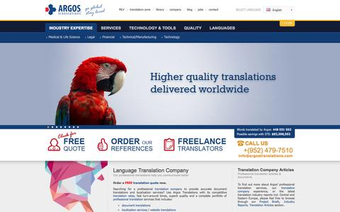 Screenshot of Home Page argostranslations.com - Translation Company | Document Translations | Localization Services | Professional Translations | Polish Translations | Professional Translation Companies | Professional Translation Company - captured Sept. 19, 2014