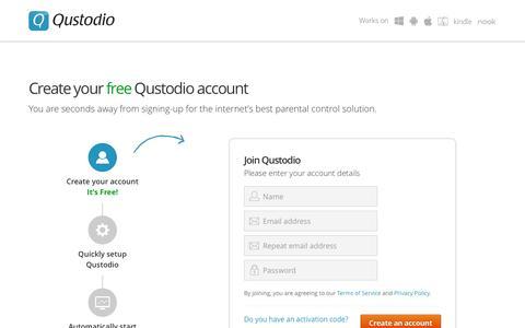 Screenshot of Signup Page qustodio.com - Get started - Qustodio - captured July 4, 2016