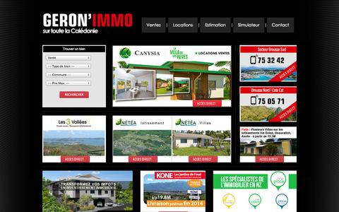 Screenshot of Home Page geronimmo.nc - Géron'immo - Accueil - captured Sept. 29, 2014