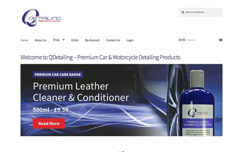 Screenshot of Home Page qdetailing.co.uk - Premium Car & Motorcyle Detailing Products   Welcome to Q-Detailing - captured Sept. 25, 2018