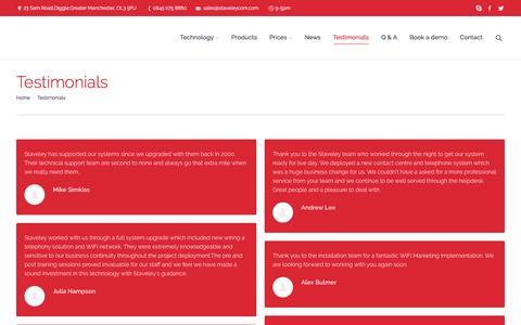 Screenshot of Testimonials Page staveleycommunications.co.uk - Telephone Systems & Wireless Solutions   Testimonials - Telephone Systems & Wireless Solutions - captured Feb. 23, 2016