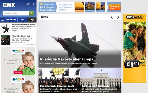 Screenshot of Press Page gmx.net - Aktuelle Nachrichten aus Politik, Wirtschaft & Panorama - captured Oct. 29, 2014