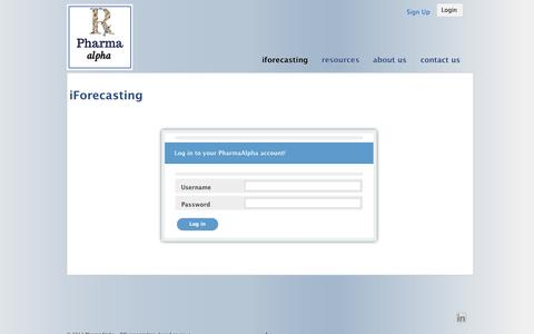 Screenshot of Login Page pharmaalpha.com - iForecasting | PharmaAlpha - IMS prescription-based revenue iforecasting modelsPharmaAlpha – IMS prescription-based revenue iforecasting models - captured Sept. 29, 2014