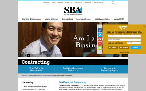 Certificates of Competency  | The U.S. Small Business Administration | SBA.gov