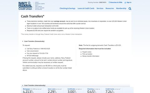 Cash Transfers   Navy Federal Credit Union
