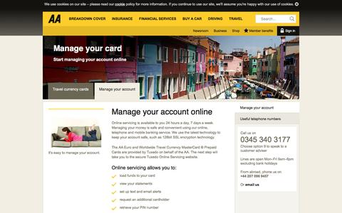 Screenshot of theaa.com - Travel currency cards | Manage your card | AA - captured March 20, 2016