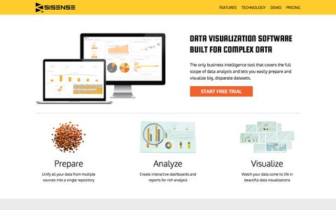 Screenshot of Landing Page sisense.com - Data Visualization Software - captured May 20, 2016