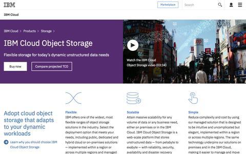 Screenshot of ibm.com - IBM Cloud Object Storage - captured July 20, 2017