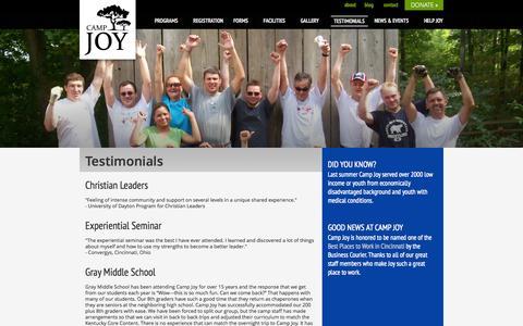 Screenshot of Testimonials Page camp-joy.org - Camp Joy - Testimonials - captured Sept. 30, 2014