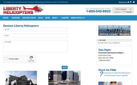 Screenshot of Contact Page libertyhelicopter.com - Contact Liberty Helicopters Today! - Liberty Helicopter   Sightseeing Tours New York   Tours In NY   City Tour of NYC   Call (800) 542-9933 - captured Sept. 28, 2018