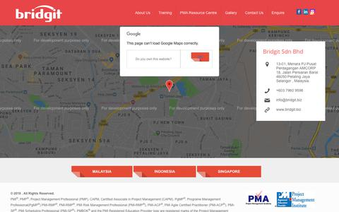 Screenshot of Contact Page bridgit.biz - Contact Information of Project Management Training in Malaysia - captured Oct. 6, 2018