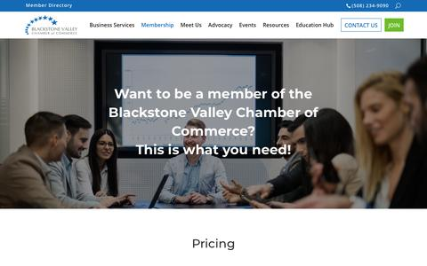 Screenshot of Pricing Page blackstonevalley.org - Pricing | Blackstone Valley Chamber of Commerce | Worcester - captured Nov. 13, 2018
