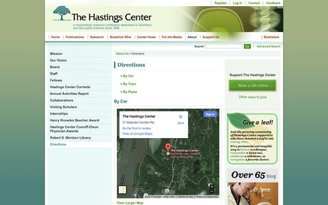 Screenshot of Maps & Directions Page thehastingscenter.org - Directions - The Hastings Center - captured Oct. 30, 2014