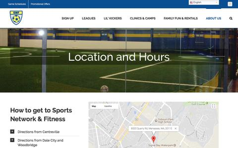 Screenshot of Maps & Directions Page snflive.com - Location and Hours - Sports Network & Fitness - captured Oct. 23, 2017