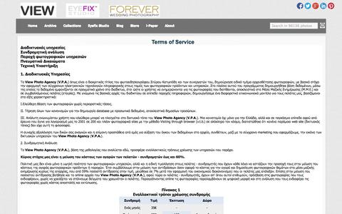 Screenshot of About Page Terms Page vi3w.com - View photo agency - Terms of Service - captured Oct. 26, 2014