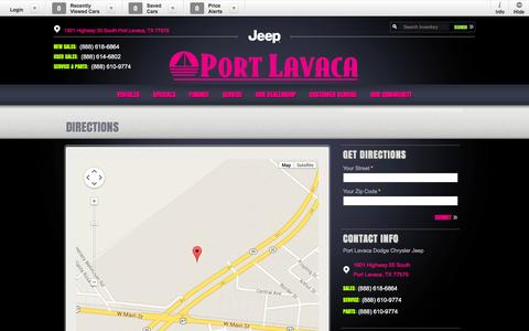 Screenshot of Maps & Directions Page portlavacadodgechryslerjeep.com - Port Lavaca Dodge Chrysler Jeep | New Dodge, Jeep, Chrysler, Ram dealership in Port Lavaca, TX 77979 - captured Oct. 28, 2014