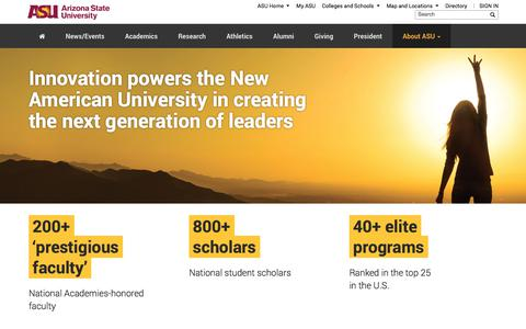 Screenshot of About Page asu.edu - About Arizona State University | - captured Jan. 23, 2018