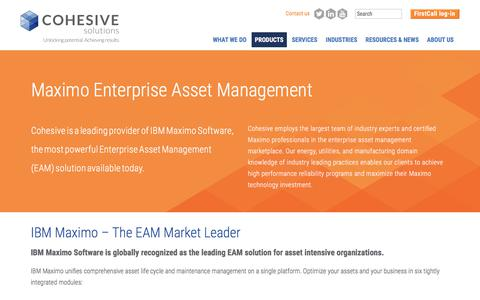 Screenshot of Products Page cohesivesolutions.com - Maximo Enterprise Asset Management | Cohesive Solutions - captured Aug. 10, 2017