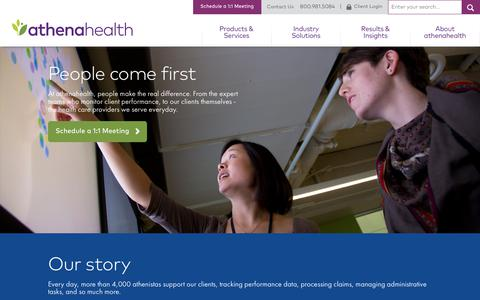Screenshot of About Page athenahealth.com - Medical Practice Services | About Us | athenahealth - captured July 7, 2017