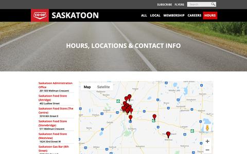 Screenshot of Contact Page Hours Page saskatoonco-op.crs - Hours - captured Oct. 26, 2018