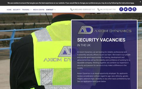 Screenshot of Jobs Page axiomdynamics.co.uk - Security vacancies available at Axiom Dynamics Ltd - captured Dec. 9, 2018