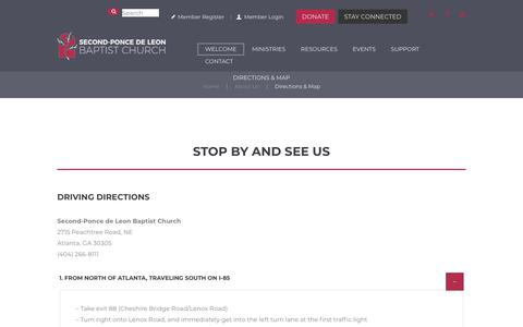 Screenshot of Maps & Directions Page spdl.org - Directions & Map – Second-Ponce De Leon Baptist Church - captured Oct. 18, 2018
