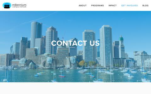 Screenshot of Contact Page mcnpartners.org - Contact Us — Millennium Campus Network - captured Oct. 19, 2017