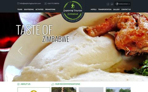 Screenshot of Home Page travelozimbabwe.com - Zimbabwe Travel Agency, Zimbabwe Travel Agent, Tour Operators & Deals - captured Oct. 6, 2014