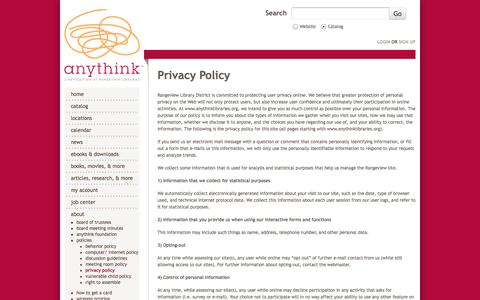 Screenshot of Privacy Page anythinklibraries.org - Privacy Policy | anythink™ - captured Sept. 24, 2014