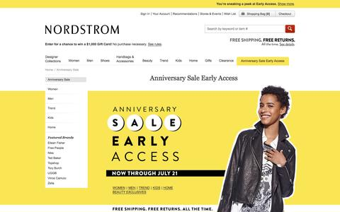 Screenshot of nordstrom.com - Nordstrom Anniversary Sale 2016: Early Access - captured July 16, 2016