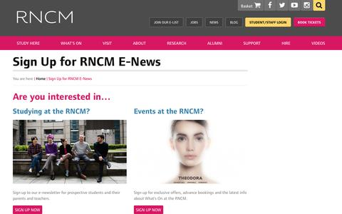Screenshot of Signup Page rncm.ac.uk - Sign Up for RNCM E-News - Royal Northern College of Music - captured July 1, 2017