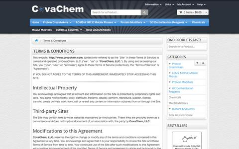 Screenshot of Terms Page covachem.com - CovaChemTerms and Conditions - CovaChem, LLC. - captured Oct. 3, 2014