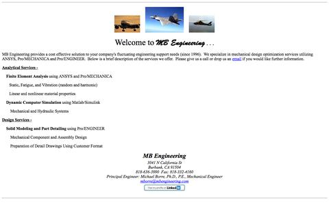 Screenshot of Home Page mbengineering.com - MB Engineering Mechanical Design Services - captured Sept. 30, 2014